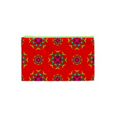 Rainbow Colors Geometric Circles Seamless Pattern On Red Background Cosmetic Bag (xs)