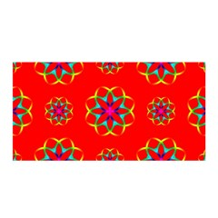 Rainbow Colors Geometric Circles Seamless Pattern On Red Background Satin Wrap