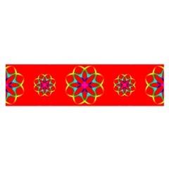 Rainbow Colors Geometric Circles Seamless Pattern On Red Background Satin Scarf (oblong)