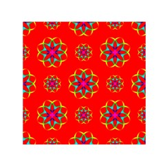 Rainbow Colors Geometric Circles Seamless Pattern On Red Background Small Satin Scarf (square)