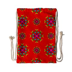 Rainbow Colors Geometric Circles Seamless Pattern On Red Background Drawstring Bag (small)