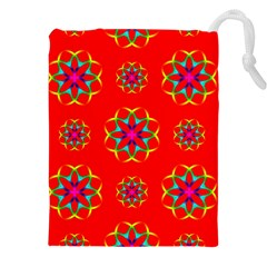 Rainbow Colors Geometric Circles Seamless Pattern On Red Background Drawstring Pouches (XXL)
