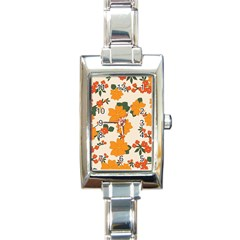 Vintage Floral Wallpaper Background In Shades Of Orange Rectangle Italian Charm Watch