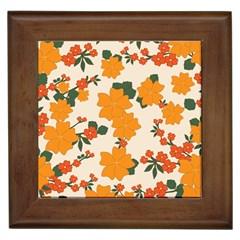 Vintage Floral Wallpaper Background In Shades Of Orange Framed Tiles
