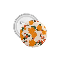 Vintage Floral Wallpaper Background In Shades Of Orange 1 75  Buttons
