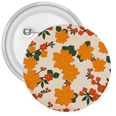 Vintage Floral Wallpaper Background In Shades Of Orange 3  Buttons