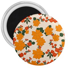 Vintage Floral Wallpaper Background In Shades Of Orange 3  Magnets