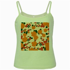 Vintage Floral Wallpaper Background In Shades Of Orange Green Spaghetti Tank