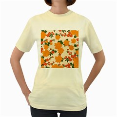 Vintage Floral Wallpaper Background In Shades Of Orange Women s Yellow T-Shirt