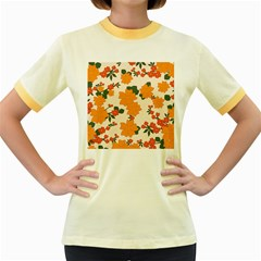 Vintage Floral Wallpaper Background In Shades Of Orange Women s Fitted Ringer T Shirts