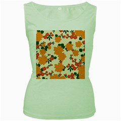 Vintage Floral Wallpaper Background In Shades Of Orange Women s Green Tank Top