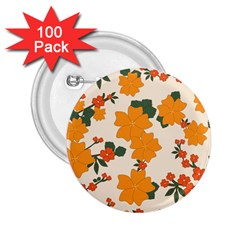 Vintage Floral Wallpaper Background In Shades Of Orange 2.25  Buttons (100 pack)