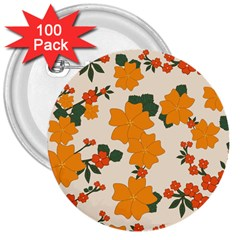 Vintage Floral Wallpaper Background In Shades Of Orange 3  Buttons (100 pack)