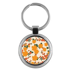 Vintage Floral Wallpaper Background In Shades Of Orange Key Chains (round)
