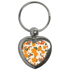 Vintage Floral Wallpaper Background In Shades Of Orange Key Chains (heart)