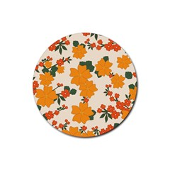 Vintage Floral Wallpaper Background In Shades Of Orange Rubber Coaster (round)