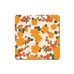 Vintage Floral Wallpaper Background In Shades Of Orange Square Magnet