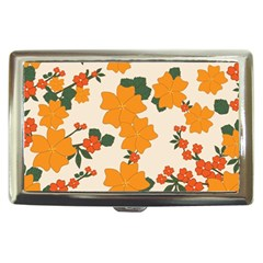 Vintage Floral Wallpaper Background In Shades Of Orange Cigarette Money Cases