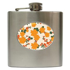 Vintage Floral Wallpaper Background In Shades Of Orange Hip Flask (6 oz)