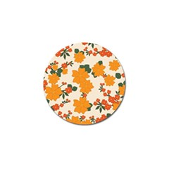 Vintage Floral Wallpaper Background In Shades Of Orange Golf Ball Marker