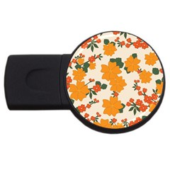 Vintage Floral Wallpaper Background In Shades Of Orange USB Flash Drive Round (1 GB)