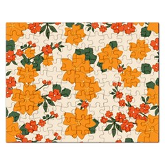 Vintage Floral Wallpaper Background In Shades Of Orange Rectangular Jigsaw Puzzl