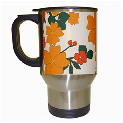 Vintage Floral Wallpaper Background In Shades Of Orange Travel Mugs (white)