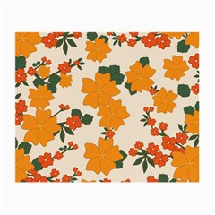 Vintage Floral Wallpaper Background In Shades Of Orange Small Glasses Cloth