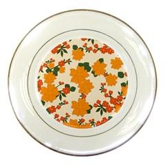Vintage Floral Wallpaper Background In Shades Of Orange Porcelain Plates