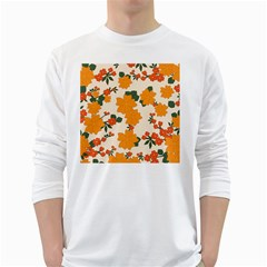Vintage Floral Wallpaper Background In Shades Of Orange White Long Sleeve T-Shirts