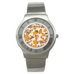 Vintage Floral Wallpaper Background In Shades Of Orange Stainless Steel Watch