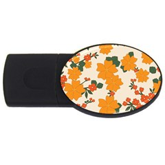 Vintage Floral Wallpaper Background In Shades Of Orange USB Flash Drive Oval (4 GB)