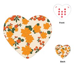 Vintage Floral Wallpaper Background In Shades Of Orange Playing Cards (Heart)