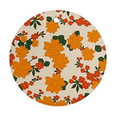 Vintage Floral Wallpaper Background In Shades Of Orange Round Ornament (two Sides)