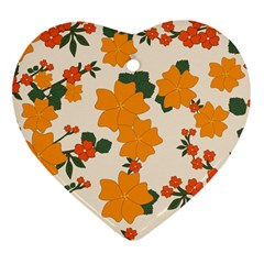 Vintage Floral Wallpaper Background In Shades Of Orange Heart Ornament (two Sides)