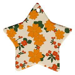 Vintage Floral Wallpaper Background In Shades Of Orange Star Ornament (Two Sides)