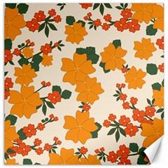 Vintage Floral Wallpaper Background In Shades Of Orange Canvas 16  x 16