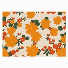 Vintage Floral Wallpaper Background In Shades Of Orange Large Glasses Cloth (2 Side)