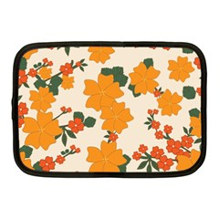 Vintage Floral Wallpaper Background In Shades Of Orange Netbook Case (Medium)