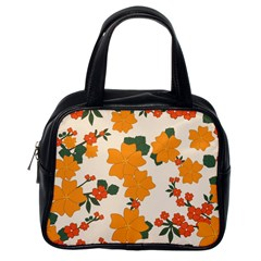 Vintage Floral Wallpaper Background In Shades Of Orange Classic Handbags (One Side)
