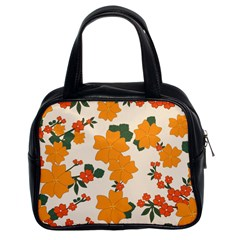 Vintage Floral Wallpaper Background In Shades Of Orange Classic Handbags (2 Sides)