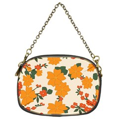 Vintage Floral Wallpaper Background In Shades Of Orange Chain Purses (One Side)