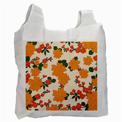 Vintage Floral Wallpaper Background In Shades Of Orange Recycle Bag (Two Side)