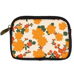 Vintage Floral Wallpaper Background In Shades Of Orange Digital Camera Cases