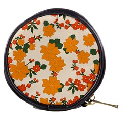 Vintage Floral Wallpaper Background In Shades Of Orange Mini Makeup Bags