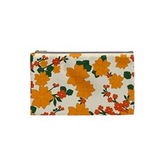 Vintage Floral Wallpaper Background In Shades Of Orange Cosmetic Bag (Small)