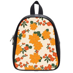 Vintage Floral Wallpaper Background In Shades Of Orange School Bags (Small)