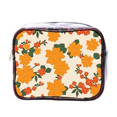 Vintage Floral Wallpaper Background In Shades Of Orange Mini Toiletries Bags