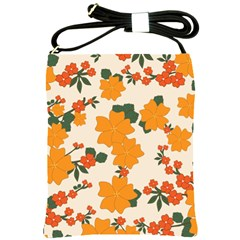Vintage Floral Wallpaper Background In Shades Of Orange Shoulder Sling Bags
