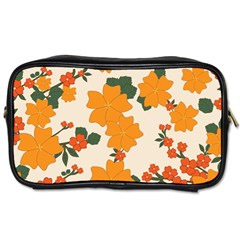 Vintage Floral Wallpaper Background In Shades Of Orange Toiletries Bags 2-Side